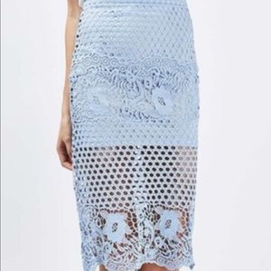 TOPSHOP Blue Crochet Skirt